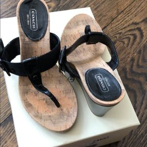 Coach black thong wedge sandal with side buckle